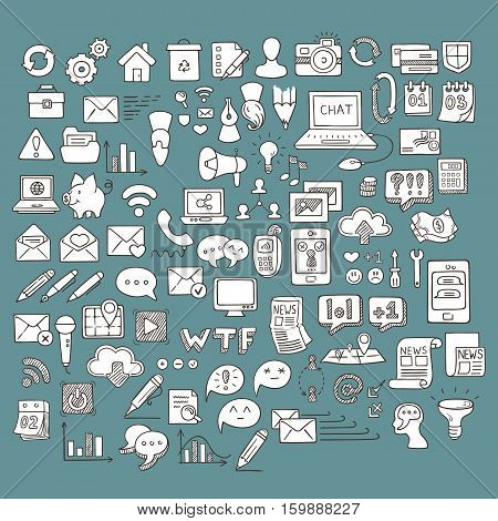 Set of Universal Doodle Icons. Variety of Topics. Web, Mail and Money.