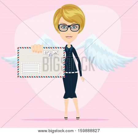 Angel woman with a letter in an envelope. Stock vector illustration