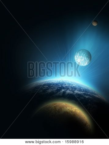 planet with sunrise on the background of stars and parade of planets