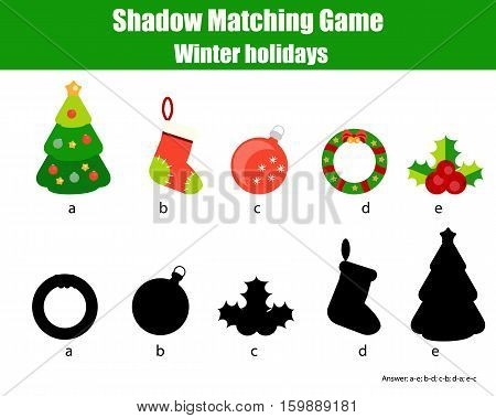 Shadow matching game for children. Find the right, correct shadow for kids preschool and school age. Printable worksheet, Christmas, winter holidays theme