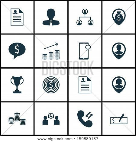 Set Of 16 Management Icons. Can Be Used For Web, Mobile, UI And Infographic Design. Includes Elements Such As Cellular, Trophy, Tree And More.