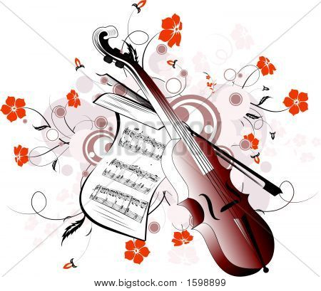 Floral Background With Violin