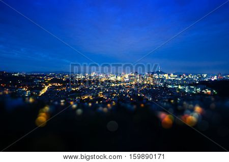 cityscape and skyline of seoul at night