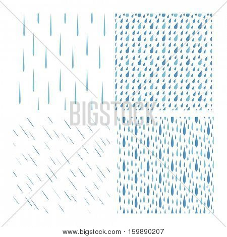 Rain drops pattern vector set