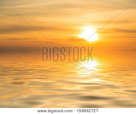 Sunset Over Calm Ocean Or Sea