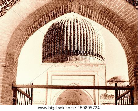 Dome of Gur-Amir Mausoleum of the Asian conqueror Tamerlane in Samarkand Uzbekistan 1954