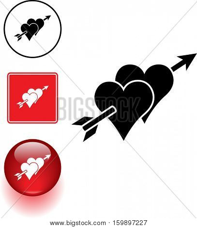 two hearts with arrow symbol sign and button
