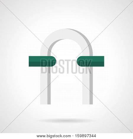 White columns and classic round arch with green stones. Entrance and facade decoration, architectural decor element for garden, open-air theater, landscaping design. Flat color style vector icon.