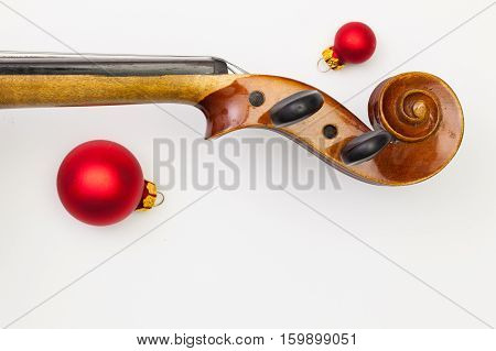 Top view close up shot of old violin and Christmas decoration. Flat Lay Image