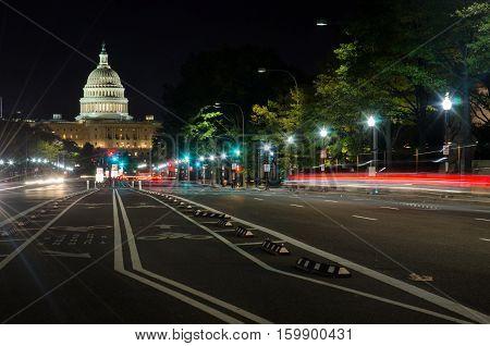 Washington Dc, Usa - October 24, 2016: Us Capitol Street View
