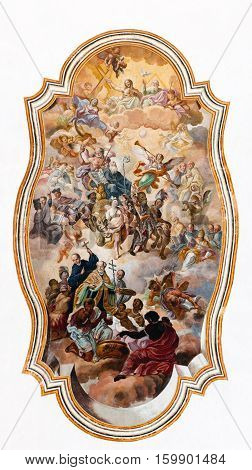 CATANIA ITALY - AUGUST 17 2016: Baroque ceiling fresco in one of the rooms of the Benedictine Monastery of San Nicolo l'Arena in Catania Sicily Italy