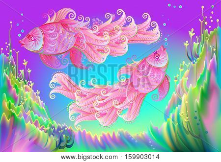 Abstract fantasy background in fairyland underwater environment with couple of two pink fishes, vector image.
