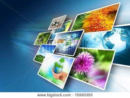 Conceito de tecnologia de produção de televisão e internet