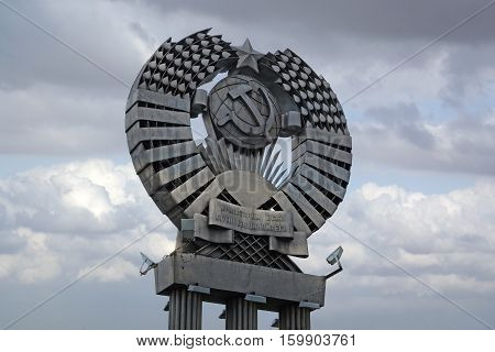 PENZA RUSSIA - AUGUST 28 2016: Monument Emblem of the Soviet Union against the sky