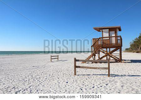 Lifeguard station on the white sand of Coquina Beach on Anna Maria Island near Bradenton Florida