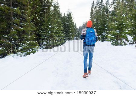 Man With Rucksack Walk Snow Forest Young Traveler Outdoor Winter Pine Woods