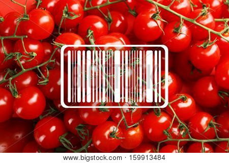 Barcode on tomatoes background. Wholesale and retail concept.