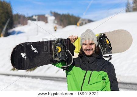 Man Tourist Snowboard Ski Resort Snow Winter Mountain Happy Smiling Guy On Holiday Extreme Sport Vacation