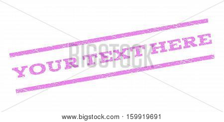 Your Text Here watermark stamp. Text caption between parallel lines with grunge design style. Rubber seal stamp with scratched texture. Vector violet color ink imprint on a white background.