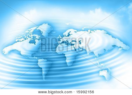 world map on the background of clouds and reflection on the water