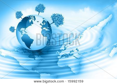 globe and world map in the background of clouds and the reflection on the water