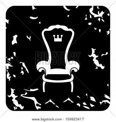 Royal throne icon. Grunge illustration of royal throne vector icon for web