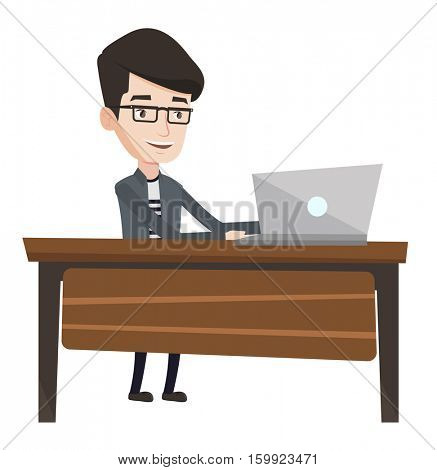 Young happy office worker working on laptop. Caucasian office worker sitting at the table and using laptop. Cheerful office worker at work. Vector flat design illustration isolated on white background
