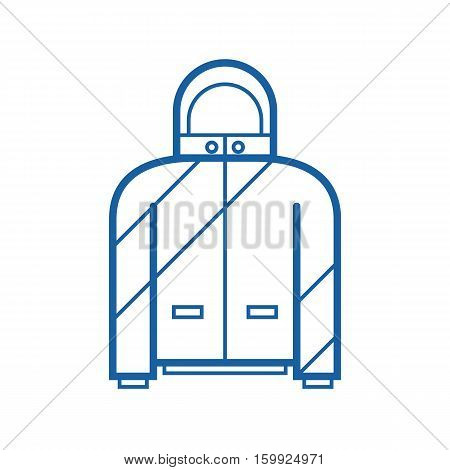 Ski suit vector icon in outline design. Snowboard jacket thin line illustration.