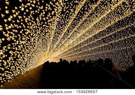 The tunnel of light in Nabana no Sato garden at night in winter Nagano Japan