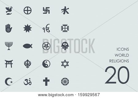 world religions vector set of modern simple icons