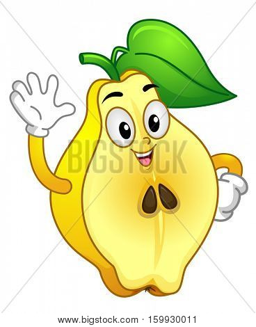 Mascot Illustration Featuring a Healthy Quince Fruit with a Leaf on Top of its Head Waving its Hand