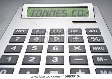 Calculator informing about carbon dioxide concentration