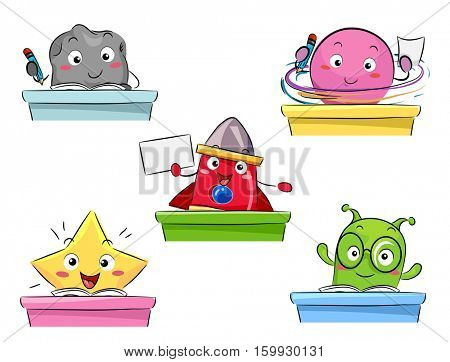 Colorful Mascot Illustration Featuring Space Creatures Studying in a Classroom