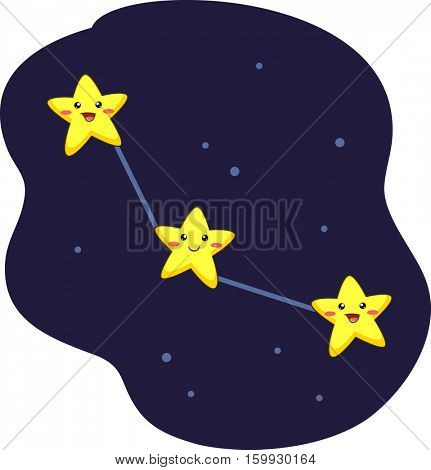 Mascot Illustration of a Constellation Formed by Three Interconnected Stars
