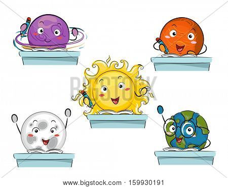 Colorful Mascot Illustration Featuring the Sun and the Planets in the Solar System Studying in a Classroom