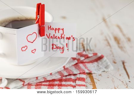 Morning coffee with Valentine's day card, copy space