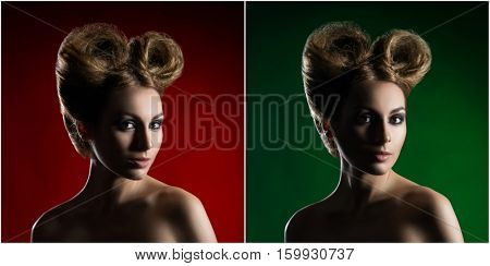 Portrait of a beautiful woman with a glamour haircut over colored background. Set collection collage.