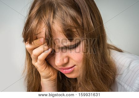 Portrait Of A Crying Woman With Bruised Skin And Black Eyes
