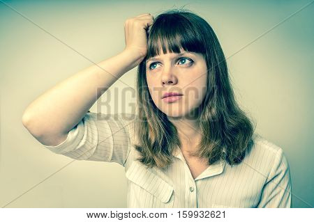 Young Disappointed Woman In Depression - Retro Style