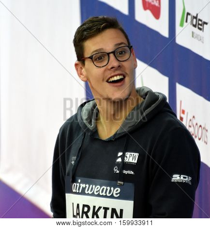 Hong Kong China - Oct 29 2016. Australian olympian world champion and record holder Mitch LARKIN (AUS) at the Victory Ceremony of Men's Backstroke 100m. FINA Swimming World Cup.