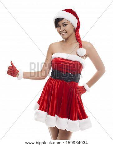 Happy Christmas Asian Model Girl On A White Background Finger Positive
