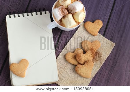 Tasty Cookies And Hot Chocolate On Background