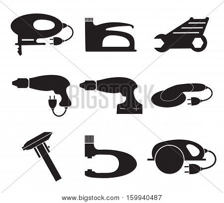 Tools mechanic icons set, black silhouette. Element logo tools, isolated on a white background. Vector illustration