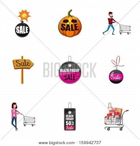 Price down icons set. Cartoon illustration of 9 price down vector icons for web
