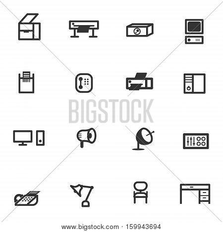 business office equipment icon set eps 10