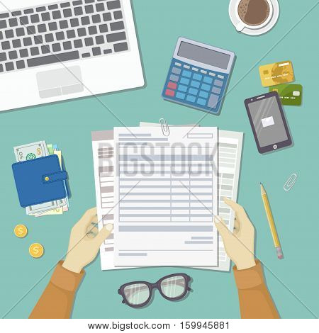 Man works with financial documents. Concept of paying bills, payments, taxes. Human hands hold the accounts, payroll, tax form. Workplace with papers, blanks, forms, wallet credit card Top view Vector