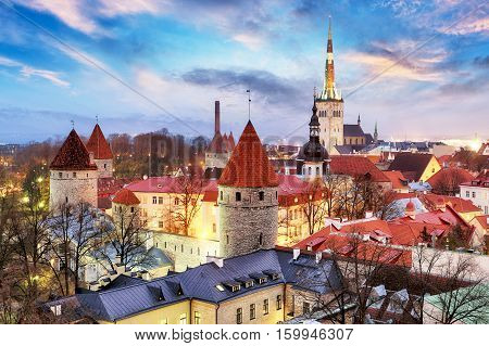 Tallinn Estonia old city view from Toompea Hill at sunrise