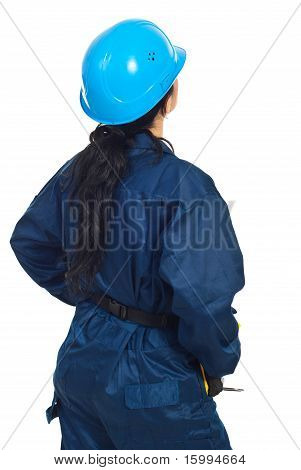 Back Of Constructor Worker Woman