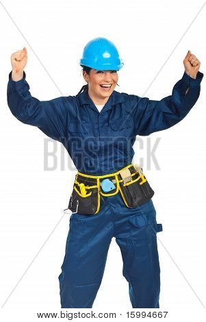 Successful Constructor Worker Woman
