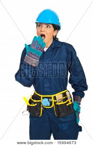 Wow!surprised Constructor Worker Woman